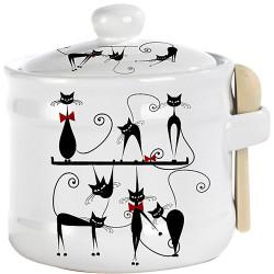 """Банка для меду з дерев'яною ложкою """"Чорна кішка"""" (h-8,5см, d-10см, об-м-420мл)"""