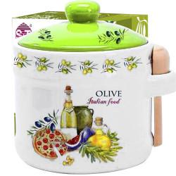 """Банка для меду з дерев'яною ложкою """"Італійські страви"""" (h-8,5см, d-10см, об-м-420мл)"""