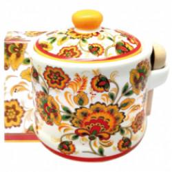 """Банка для меду з дерев'яною ложкою """"Квітковий розпис"""" (h-8,5см, d-10см, об-м-420мл)"""